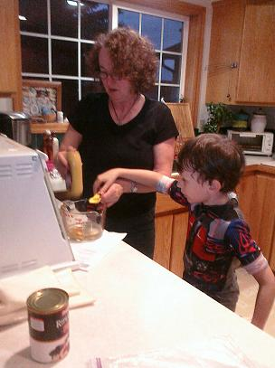 My Grandson Nick helping out cooking in the kitchen.